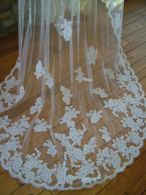 Couture Alencon Lace mantilla wedding veil wedding dress perfect any style gown beaded train