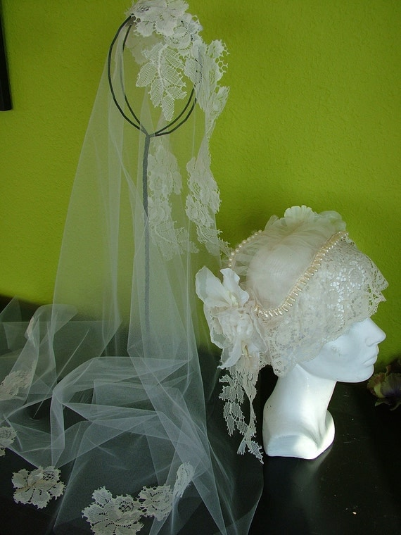 Wedding veil 1920s cloche bridal cap lace hat and detachable veil white ivory beaded applique antiue tiara headband