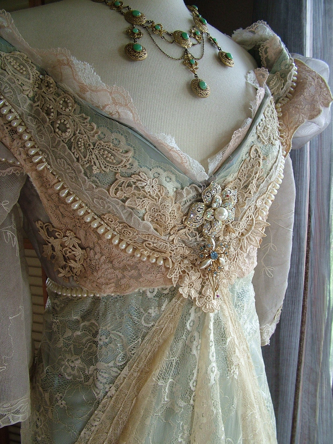 Original handmade vintage inspired cinderella ever after for Antique inspired wedding dresses