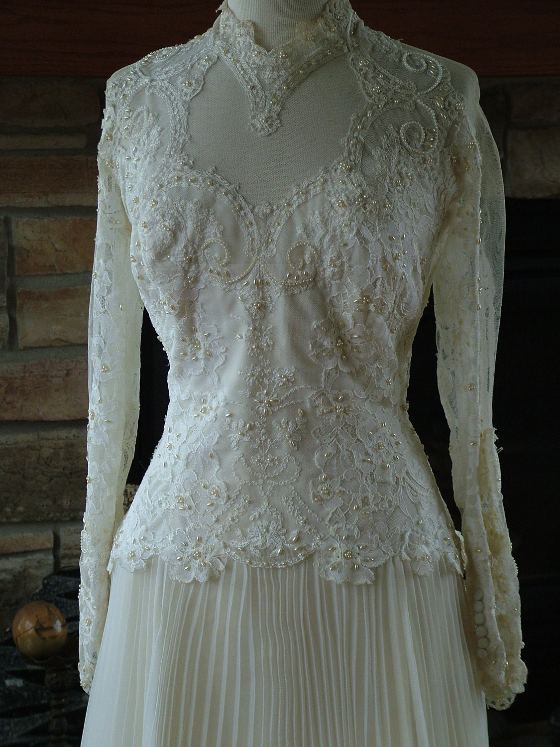 wedding dress 1970s vintage victorian style bridal gown