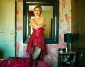 SALE Rose Red Valentine Corset Dress, Vintage Lace. UNIQUE