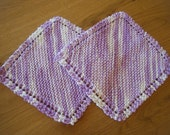 2 Handknitted Grandmothers favorite Dishcloths