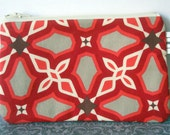 small zipper pouch - red graphic modern