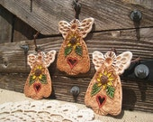 3 Small Country Sunflower Angel Ornaments / Farmhouse Decor / Decoration / Gift