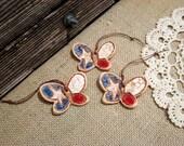 Set of 3 Tiny Texas Butterfly Ornaments / Texas Decor / Texas Christmas Decoration / Wedding Favors / Gift idea