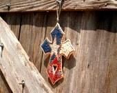 Rustic Elegant Texas Bluebonnet Cross Wall Art / Texas Ranch Decor / Gift Idea