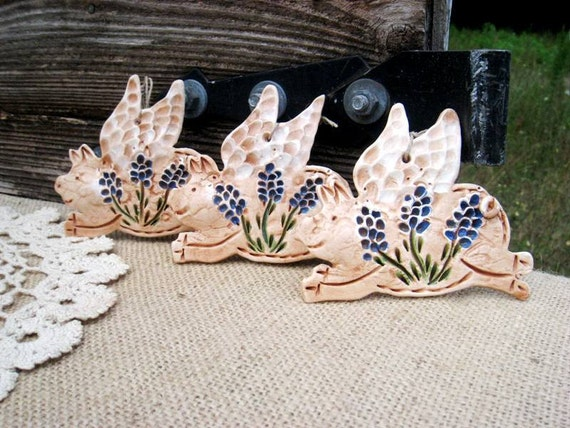 Items similar to 3 small bluebonnet wildflower flying pig for Pig decorations for home