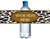 10 COUNT - CHEETAH - Self-adhesive Water Bottle Labels Personalized Birthday favors Cheetah Water Bottle Labels