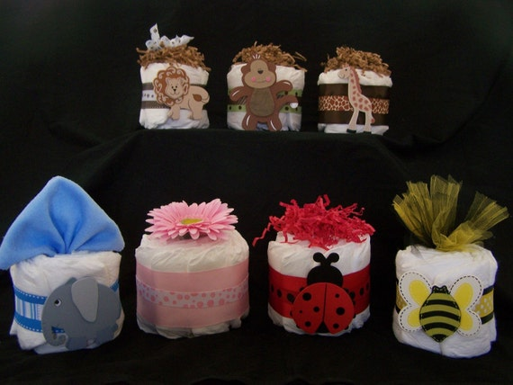 Items similar to mini diaper cakes centerpieces baby