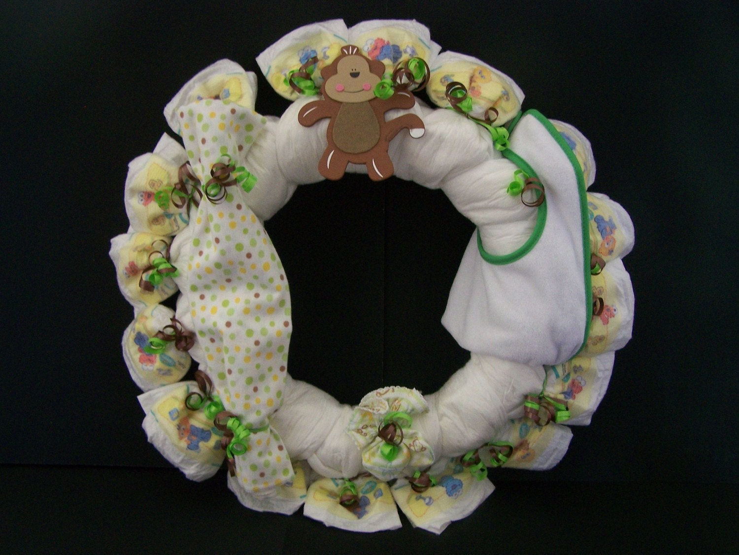 monkey diaper wreath door hanger baby shower centerpiece baby shower