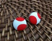 Go Hogs Fabric Button Earrings