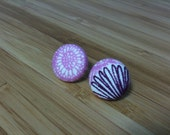Pretty floral pattern fabric covered button earrings