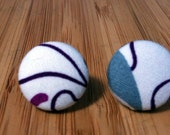 Patterned Fabric Covered Button Earrings