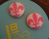 Pretty pink and white fleur de lis earrings