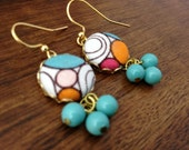 Fabric-Covered Button Earring with Cute Dangles with Drops