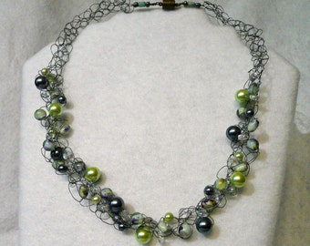 Bead and Pewter Wire Necklace