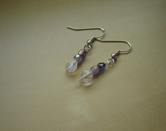 Silver earrings with 3 faceted Czech fire polished beads