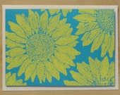 Sunflower Card - 4 pack - yellow ink on blue paper - handmade lino-cut print