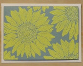 Sunflower Card - 4 pack - yellow ink and wave green paper - handmade lino-cut print
