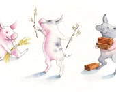 Three Little Pigs // 8 x 12 Handmade Print