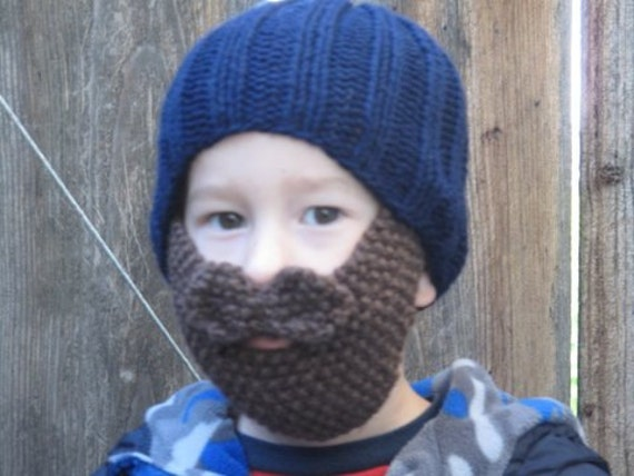 Free Beard And Moustache Knitting Pattern : Knitting Pattern ONLY Kids Hat with beard and by KnitCookies