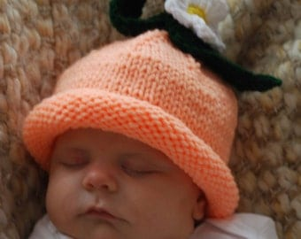 Hand knitted PEACH hat
