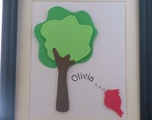 Personalized Tree and Song Bird Silhouette Name Sign Picture Framed (Featured Item)