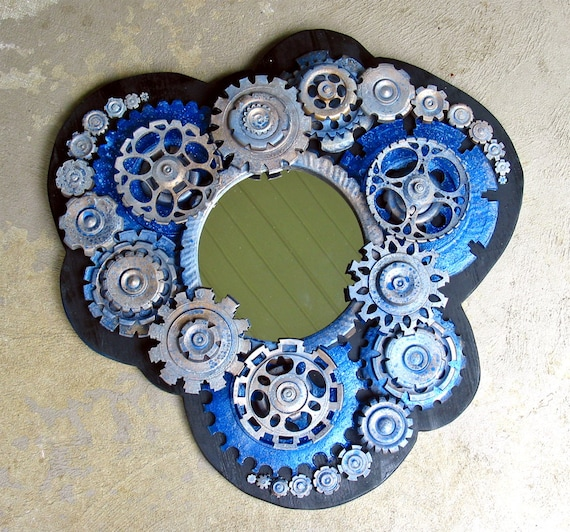 Industrial, Fractal Inspired Wall Mirror with Lots of Blue Gears, Ready to Hang