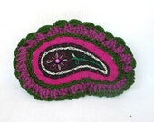 crocheted magenta and olive green paisley purse