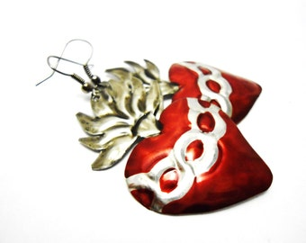 sacred heart tin earrings