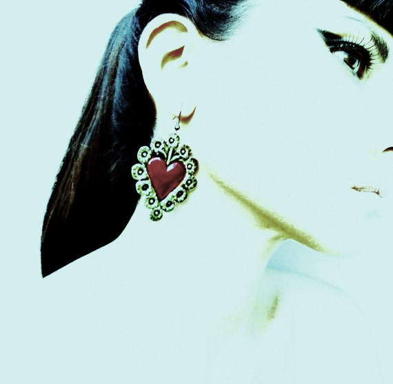 Mexican Tin Silver and Red Hearts Earrings