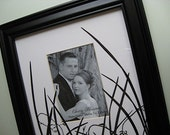 Wedding Photo Gift Black Photo Frame Anniversary Gift Pressed Flowers