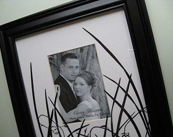 Wedding Photo Gift Black Photo Frame Anniversary Gift Pressed Flowers