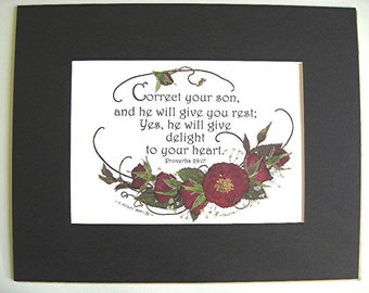 Baby Boy Gift Christian Art Scripture Art Parents Boy Son Pressed Rose Flowers A Reproduction Black Mat