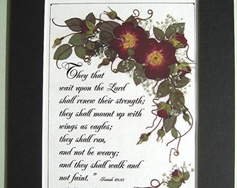 Pastors Gift Christian Art Lord Scripture Verse Pressed Red Roses Reproduction