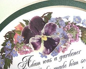 Flower Art Garden Rudyard Kipling Verse Pressed Flowers Purple Pansies Roses