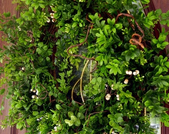 Spring Wreath , Summer Wreath , Boxwood and Fern Wreath , Faux Boxwood , Wreath For The Door , Year Round Wreath