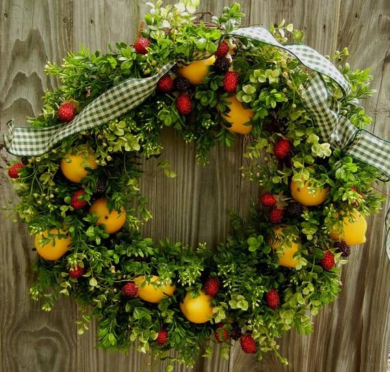 Summer Door Wreath-Country Chic Wreath-Lemons and Berries
