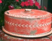 50s Cake Tin Red Tole
