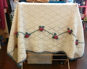 Crocheted Blanket  Creme Blue and Pink Roses - Throw Blanket - Afghan