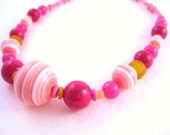 Girls Fun Pink and Orange Necklace, Medium, GN 130