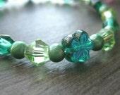 Girls Flower Bracelet, Beaded Stretch Bracelet, Blue Green Flowers, Large, GBL 178