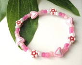 Small Girls Heart Bracelet, Pink and Red, GBS 113