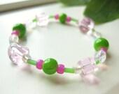 Girls Bracelet Pink and Green, Medium Stretch Braclet, GBM 130