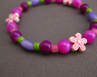 Pink and Purple Medium Girls Bracelet with pink flowers, GB 148