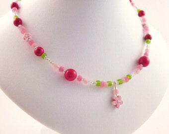 Girls Pink and Green Necklace with Pink Flower Pendant, Sterling Silver Medium, GNM 103