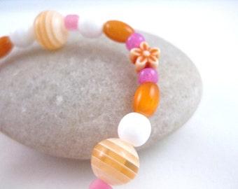 Pink and Orange Beaded Girls Bracelet with flower, Small Girls Bracelet, GBS 105
