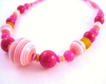 Girls Fun Pink and Orange Necklace, Medium, GN 130
