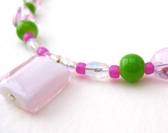 Pink and Green Girls Necklace with Square Pink Glass Pendant, Sterling Silver Clasp, Small Girls Necklace, GN 105