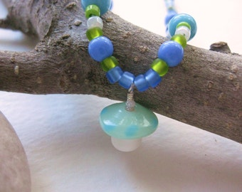 Blue and Green Girls Necklace with Mushroom pendant, Medium Girls Necklace, GN 135
